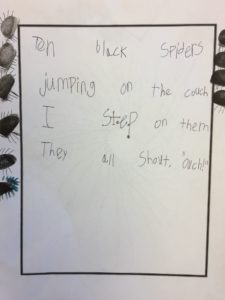A student's rhyme about spiders