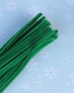 green pipe cleaners for the candy cane ornament