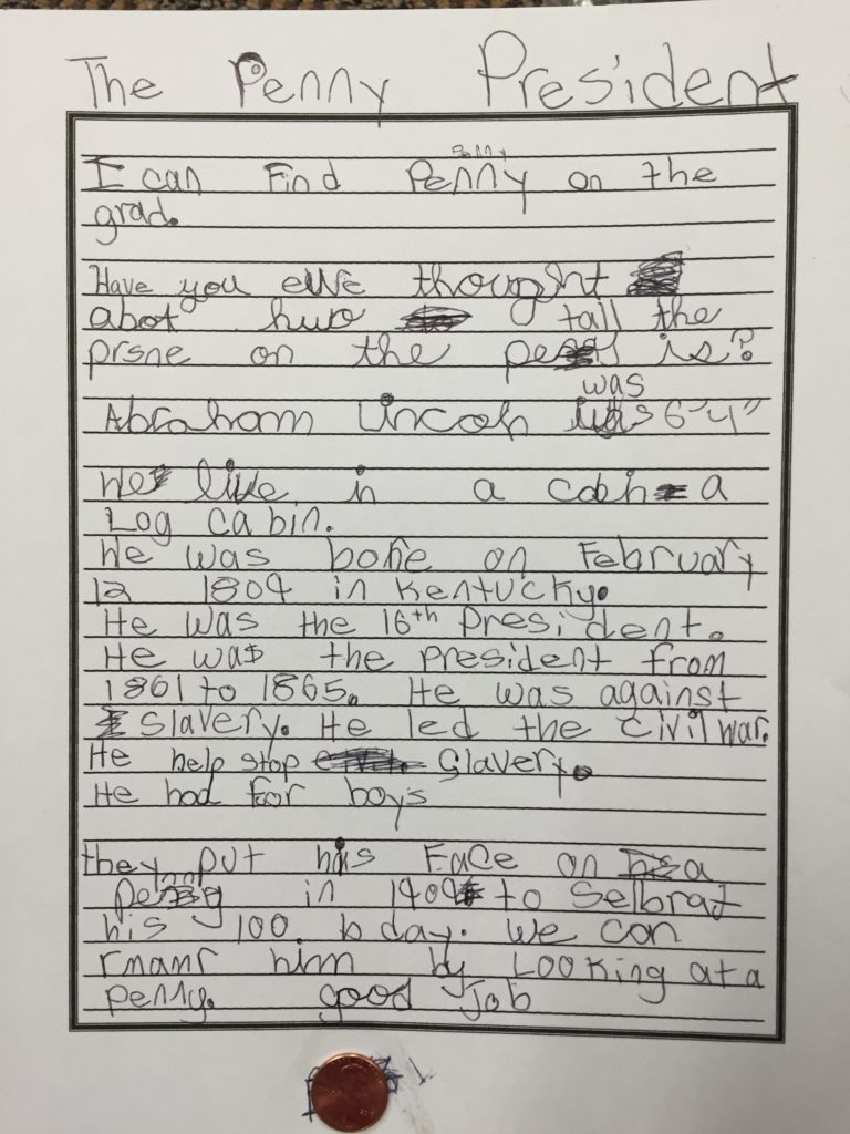 One student's writing about Abraham Lincoln, the penny president