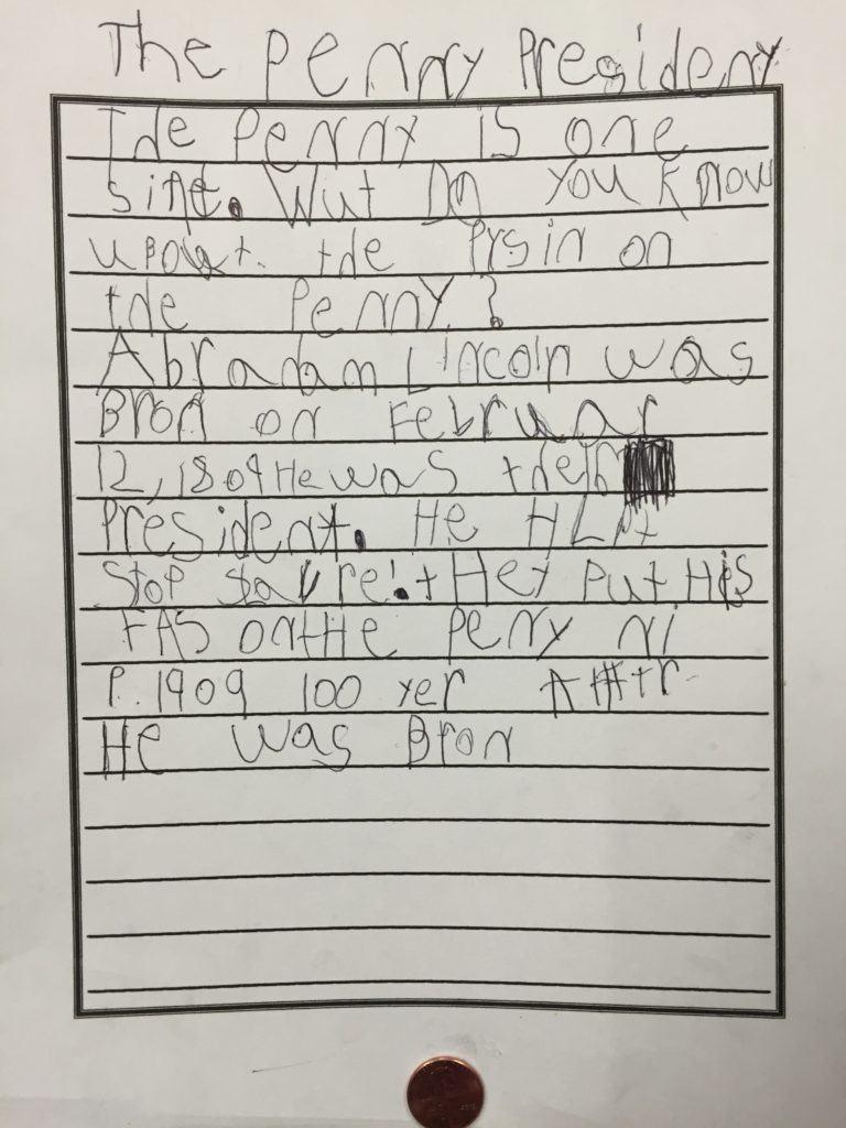 A second student's writing about Abraham Lincoln, the penny president