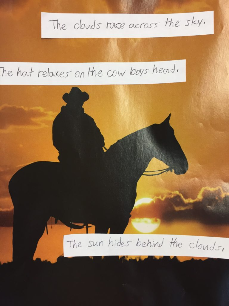 A picture of a cowboy on a horse in front of a sunset
