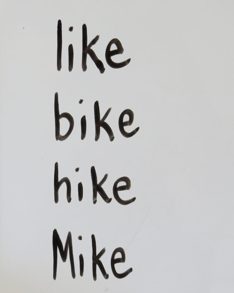 The word family like, bike, hike, Mike