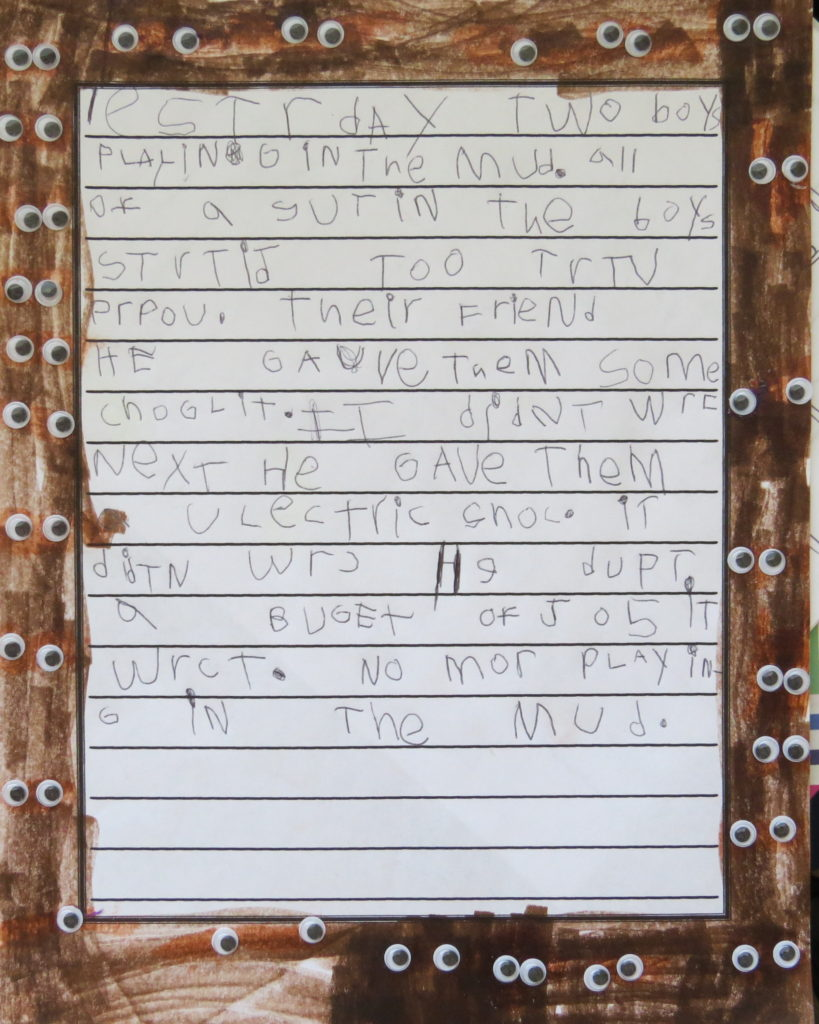 A child's story about mud mites, mud writing prompt