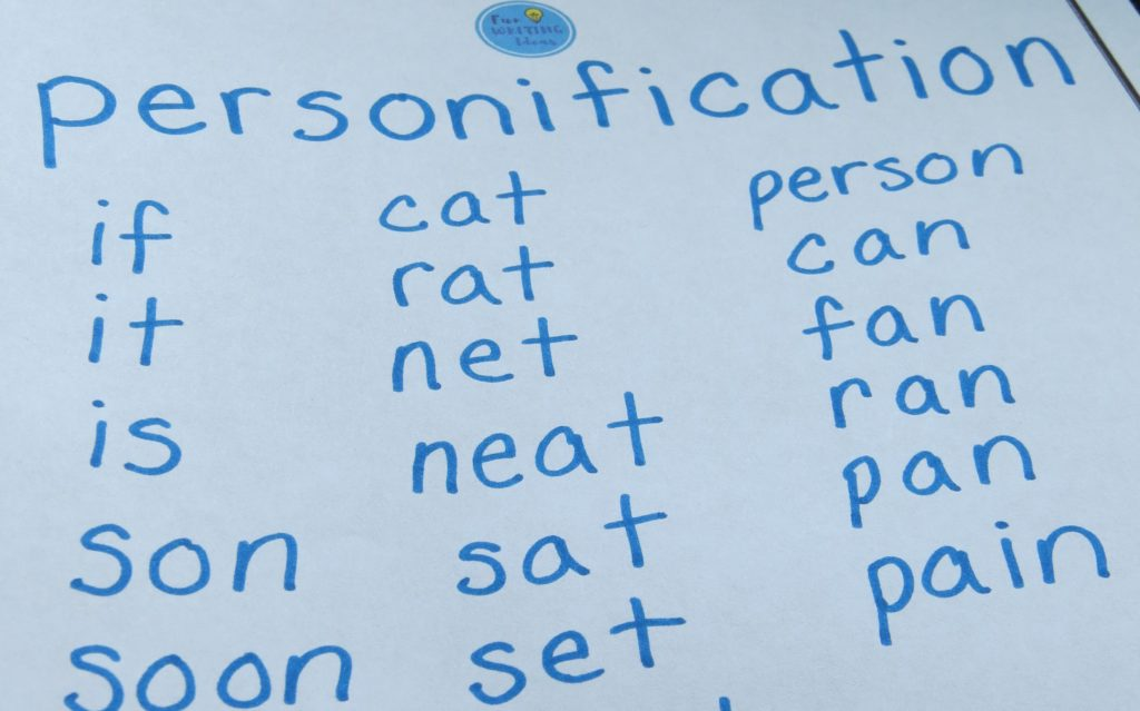 List of words formed from the letters in the word personification
