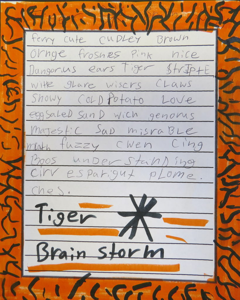 A child's list of descriptive words about tigers