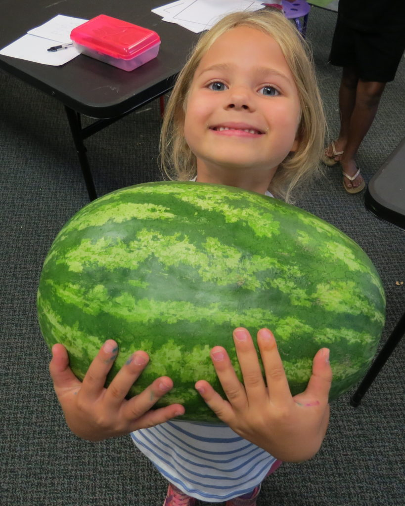 A girl holding a watermelon
