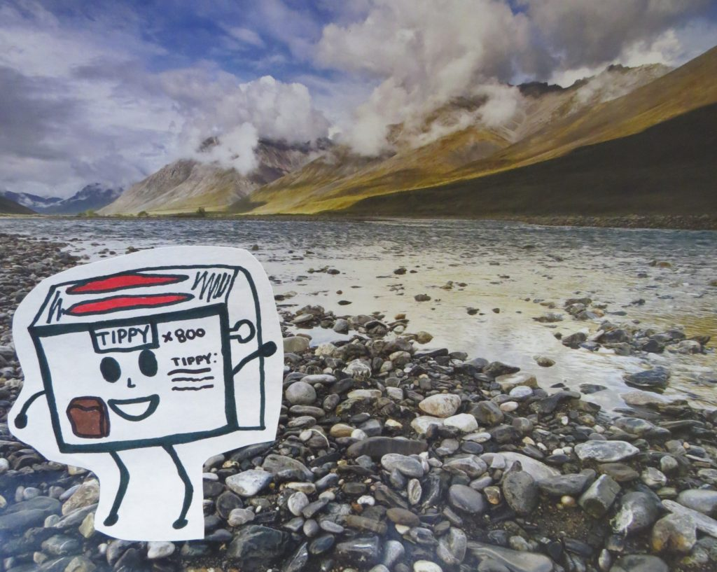 Toaster in a mountain river scene--science fiction story