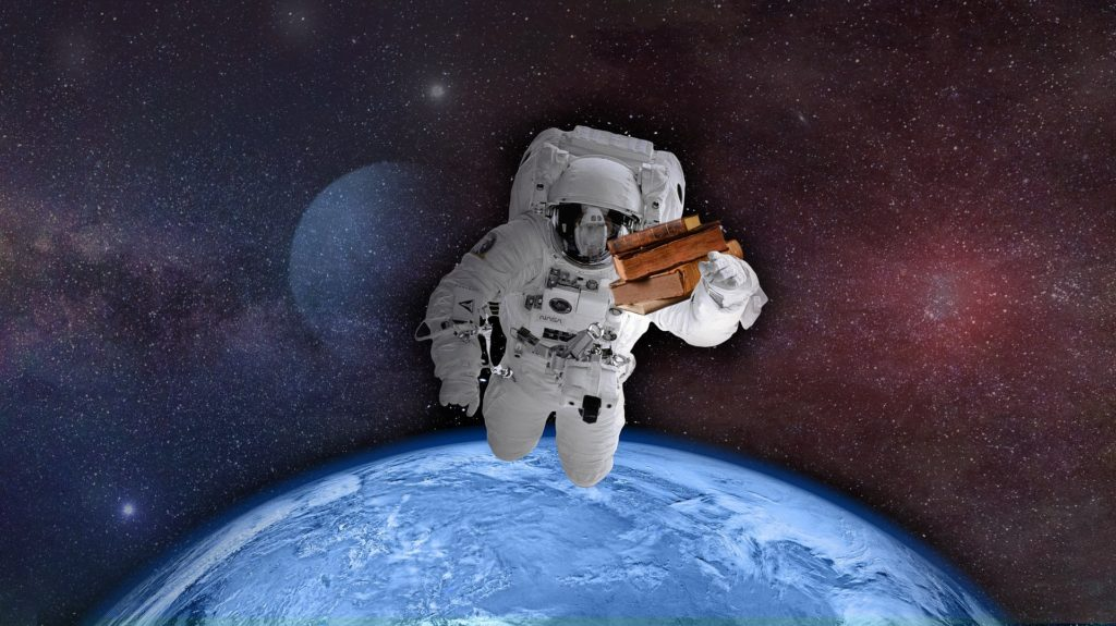 Astronaut in outer space for a science fiction story