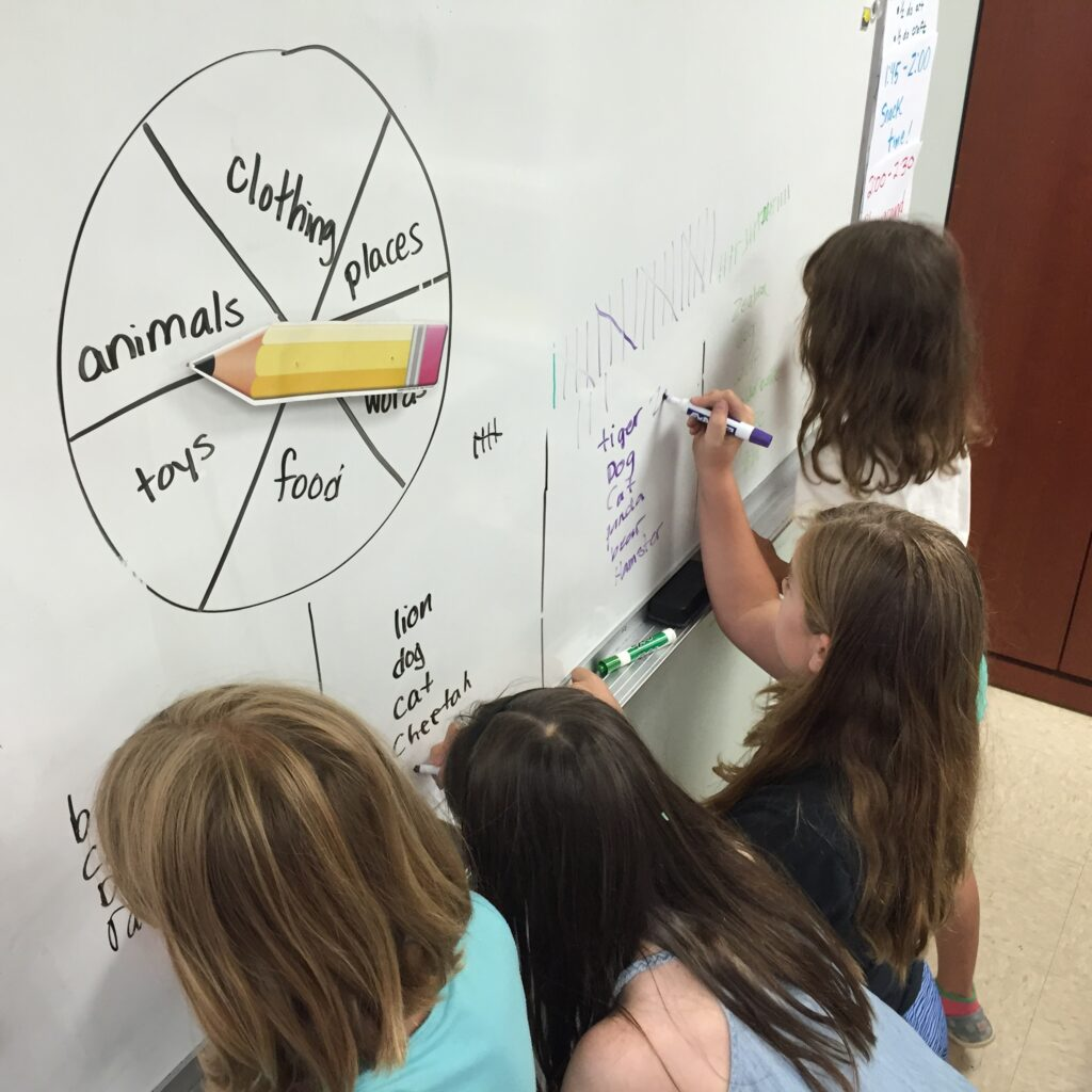 Children writing category words