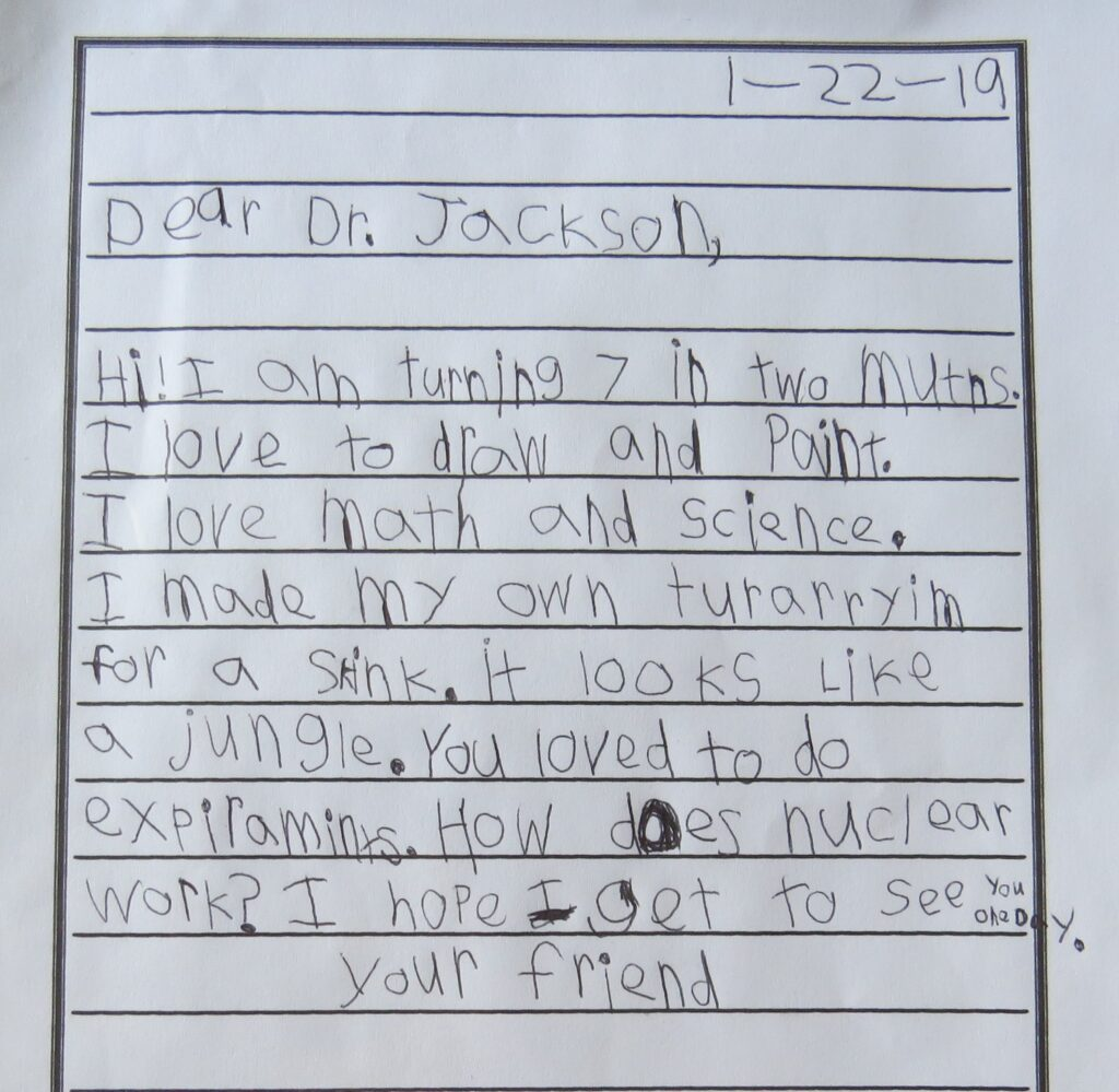 Students letters to African-Americans age 6