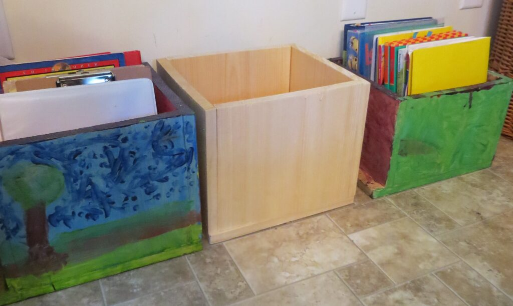 Kids build a 4 tier shelf after building their own book boxes