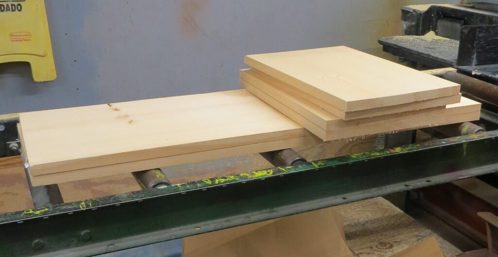 pieces of wood used to build a 4 tier shelf