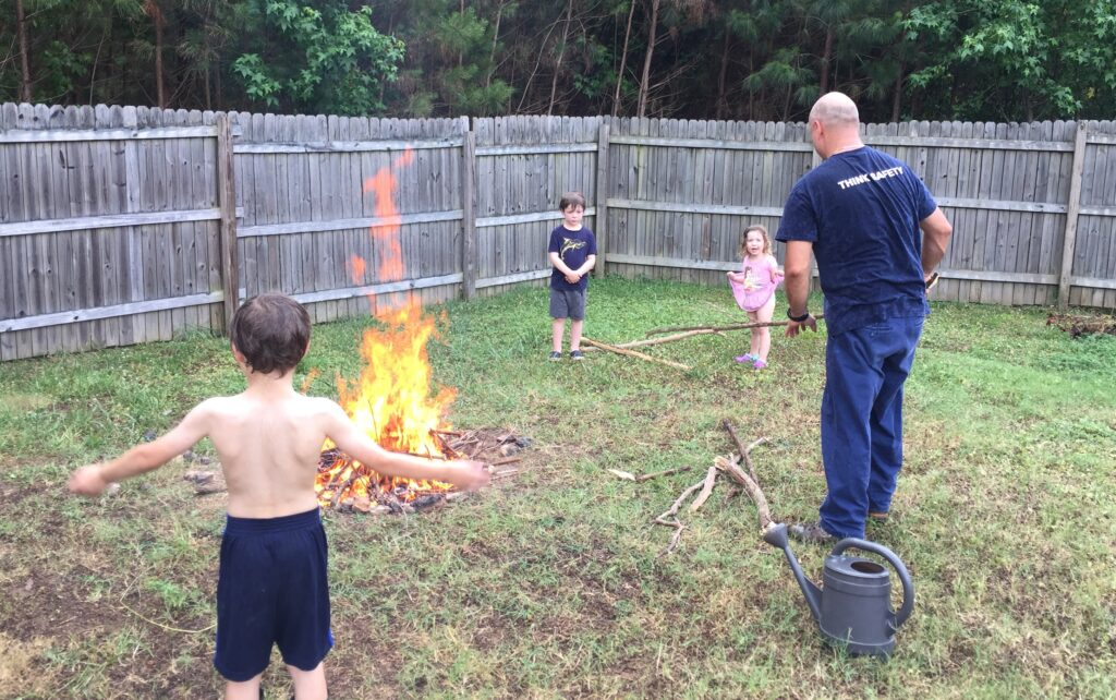 screen free activities, build a fire