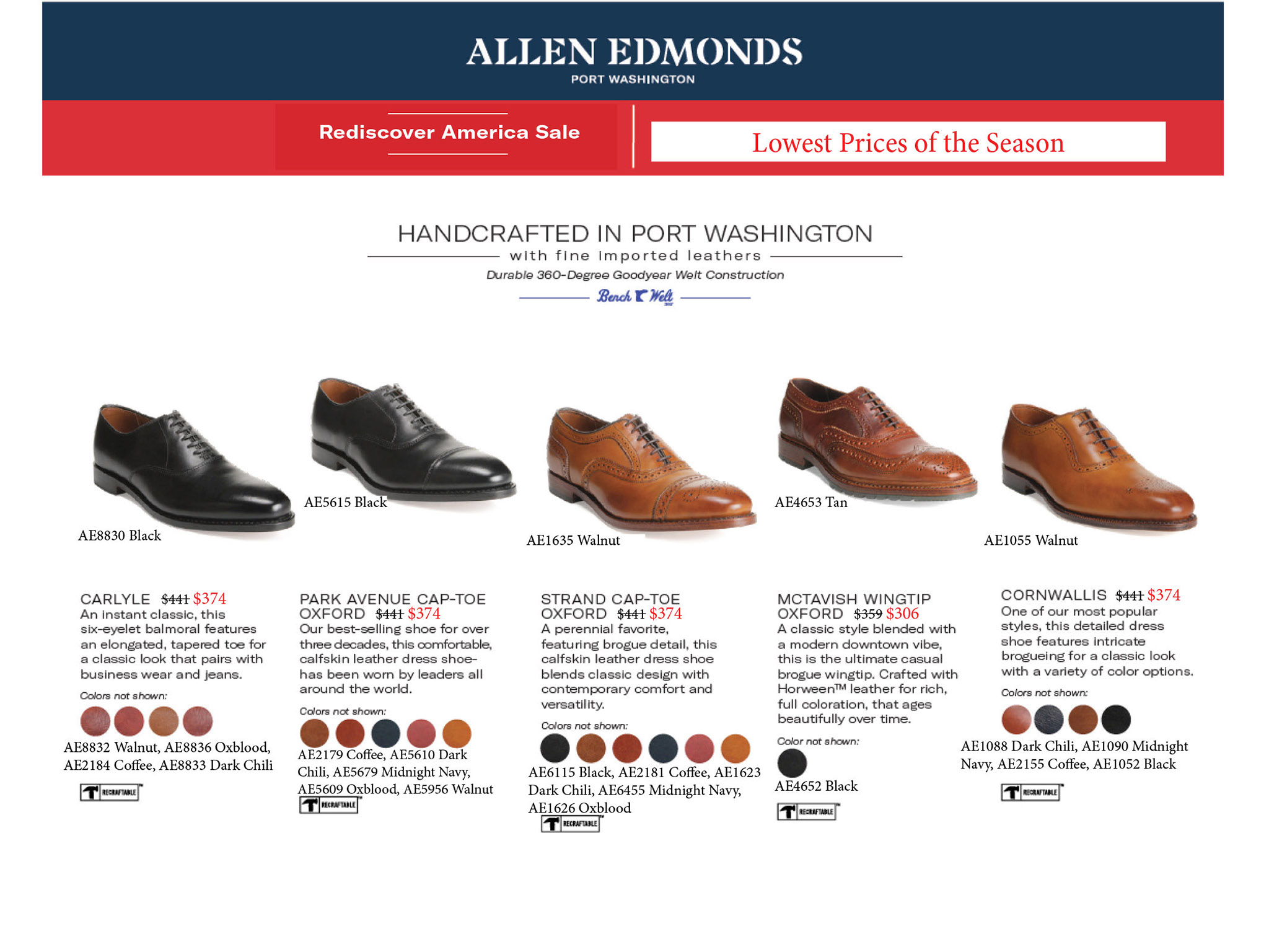 allen edmonds sale shoe made in america lace up slip on black brown