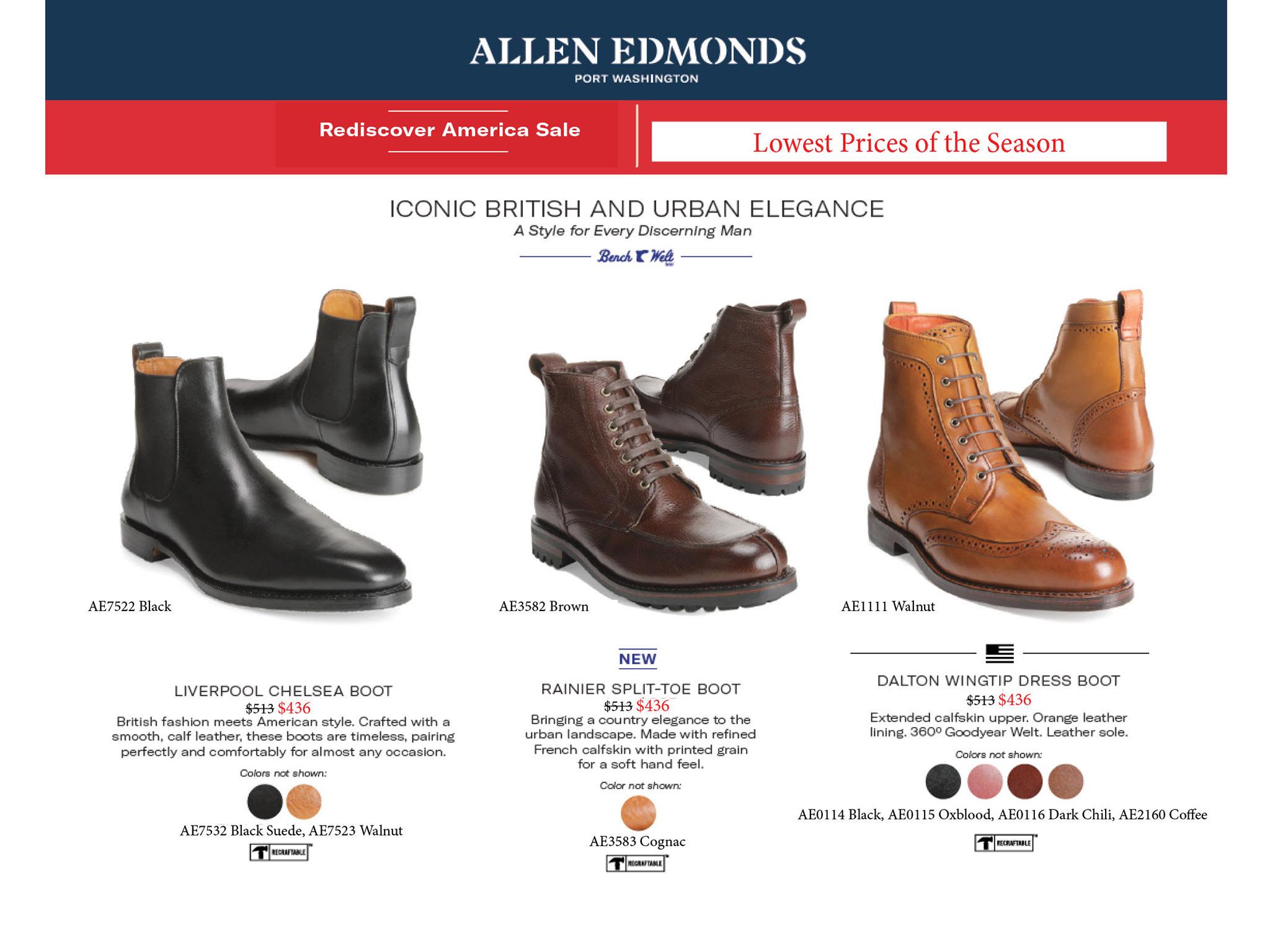 allen emonds boots shoes lace up slip one sale black brown burgundy walnut