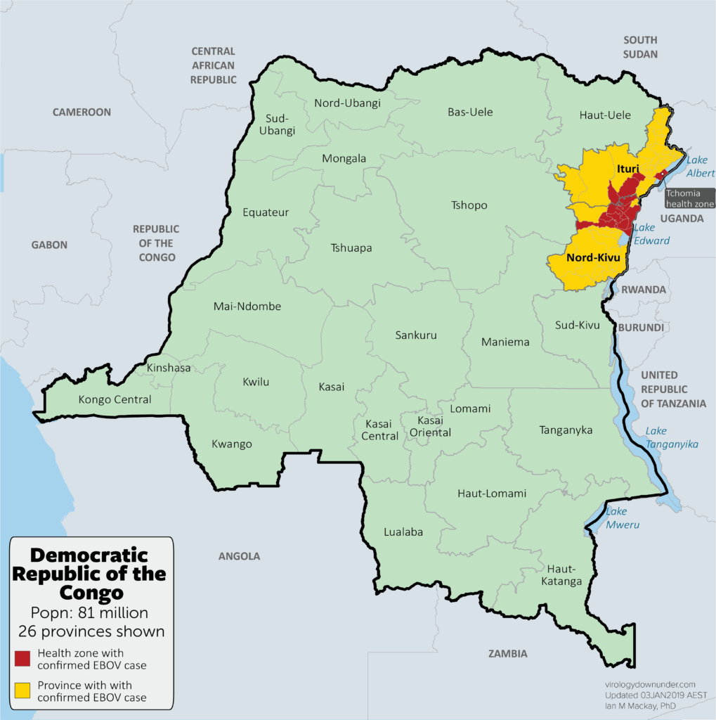 Area of the 2018/9 Ebola virus disease hotzone.