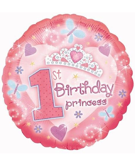 1st Birthday Princess 18 Inch Round Foil Mylar Balloon
