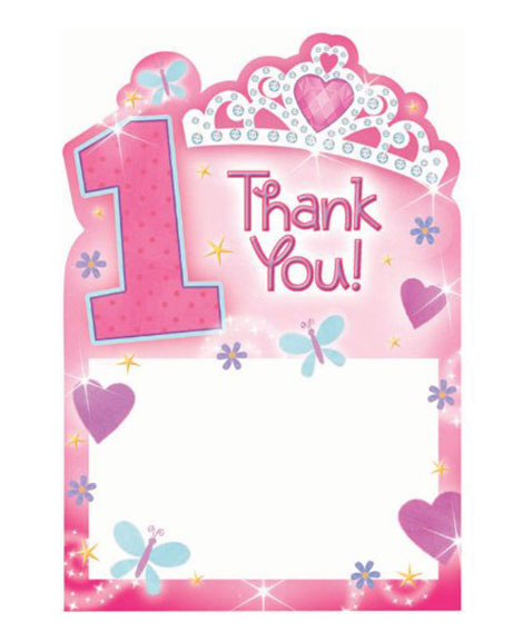 1st Birthday Princess Thank You Cards