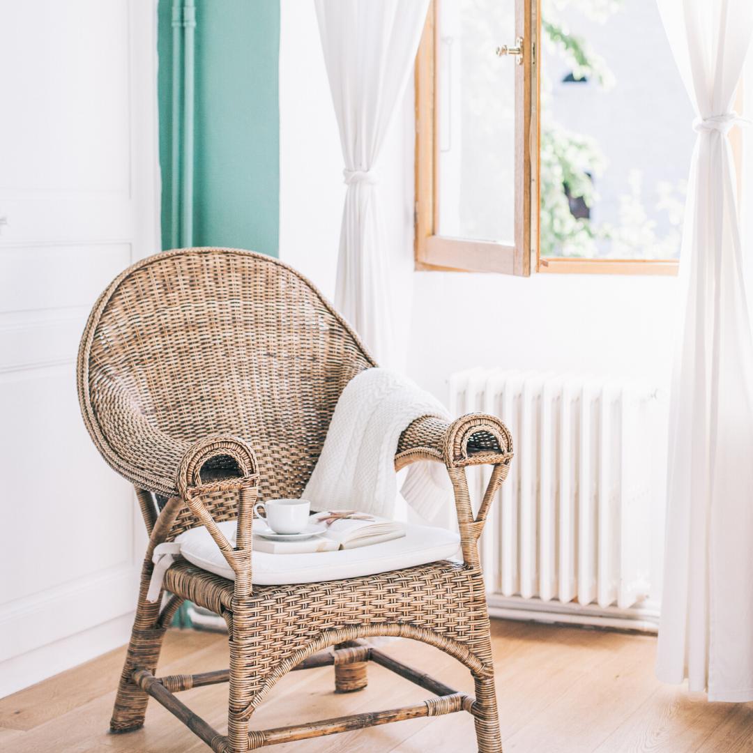 rattan chair + book