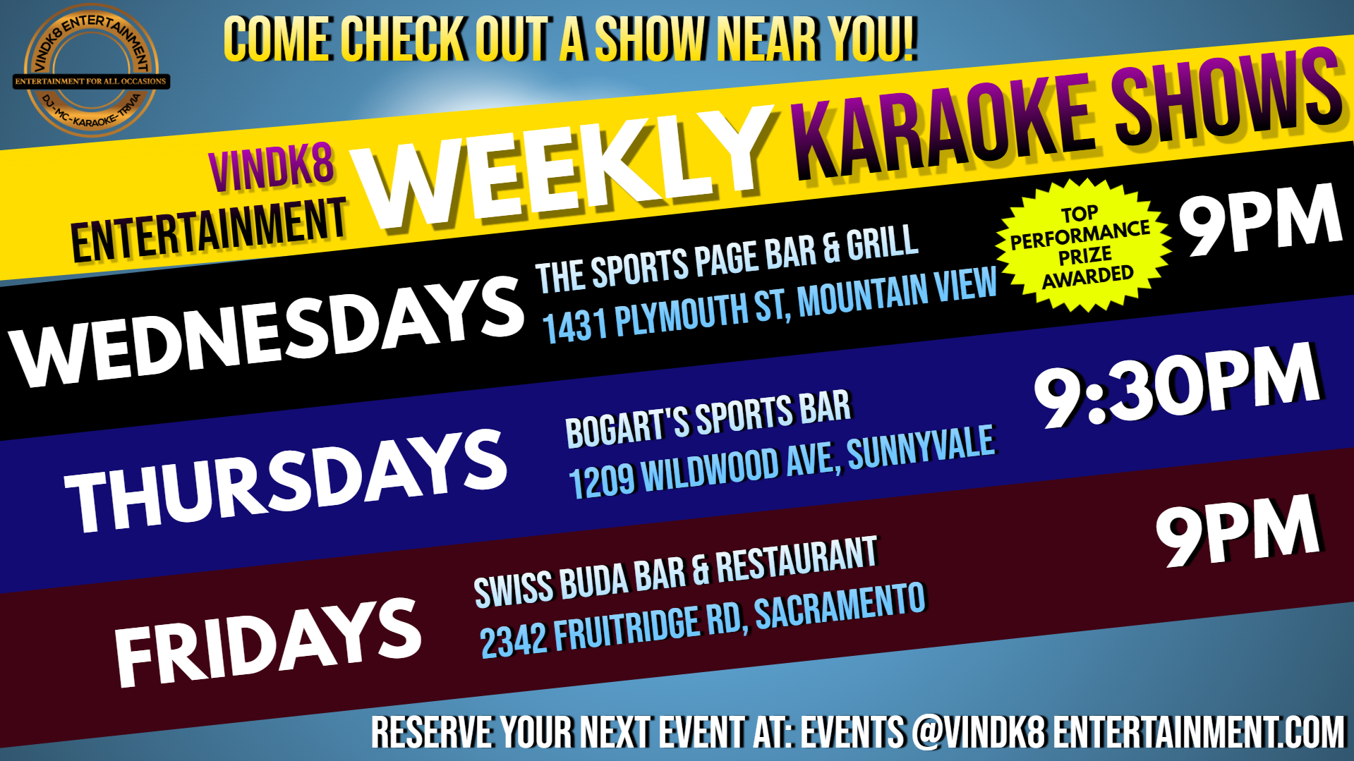 0 - Weekly Karaoke Shows
