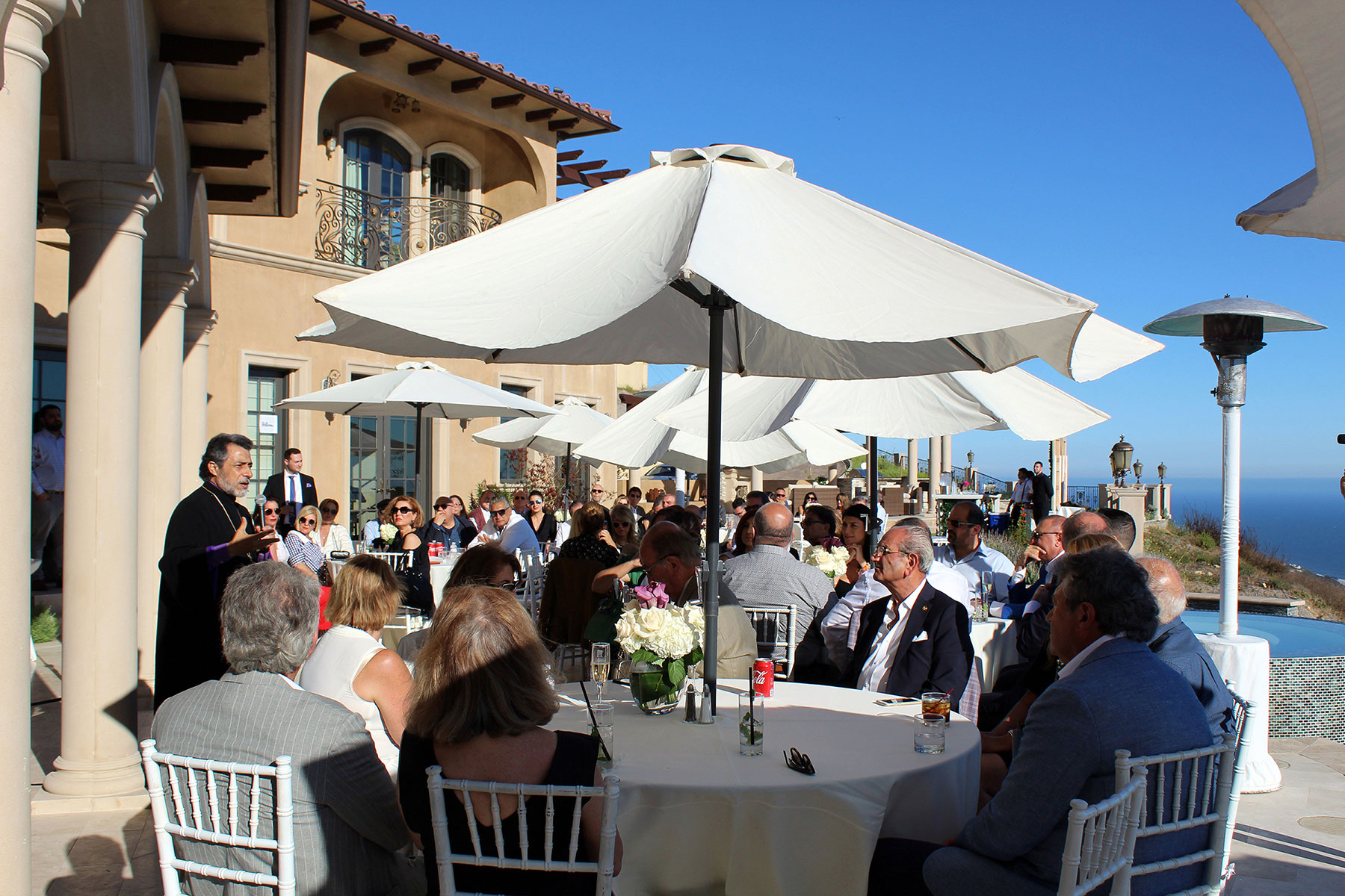 Armenian American Museum Board of Trustees Co-Chair Archbishop Hovnan Derderian Delivers Remarks at Malibu Reception