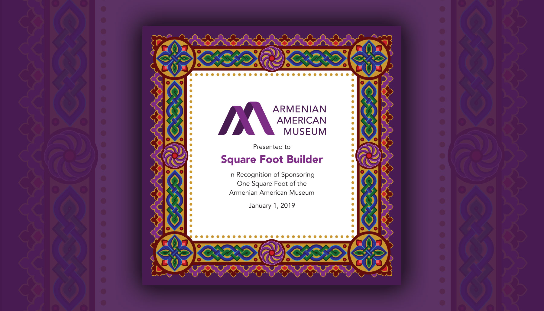 Armenian American Museum Square Foot Certificate