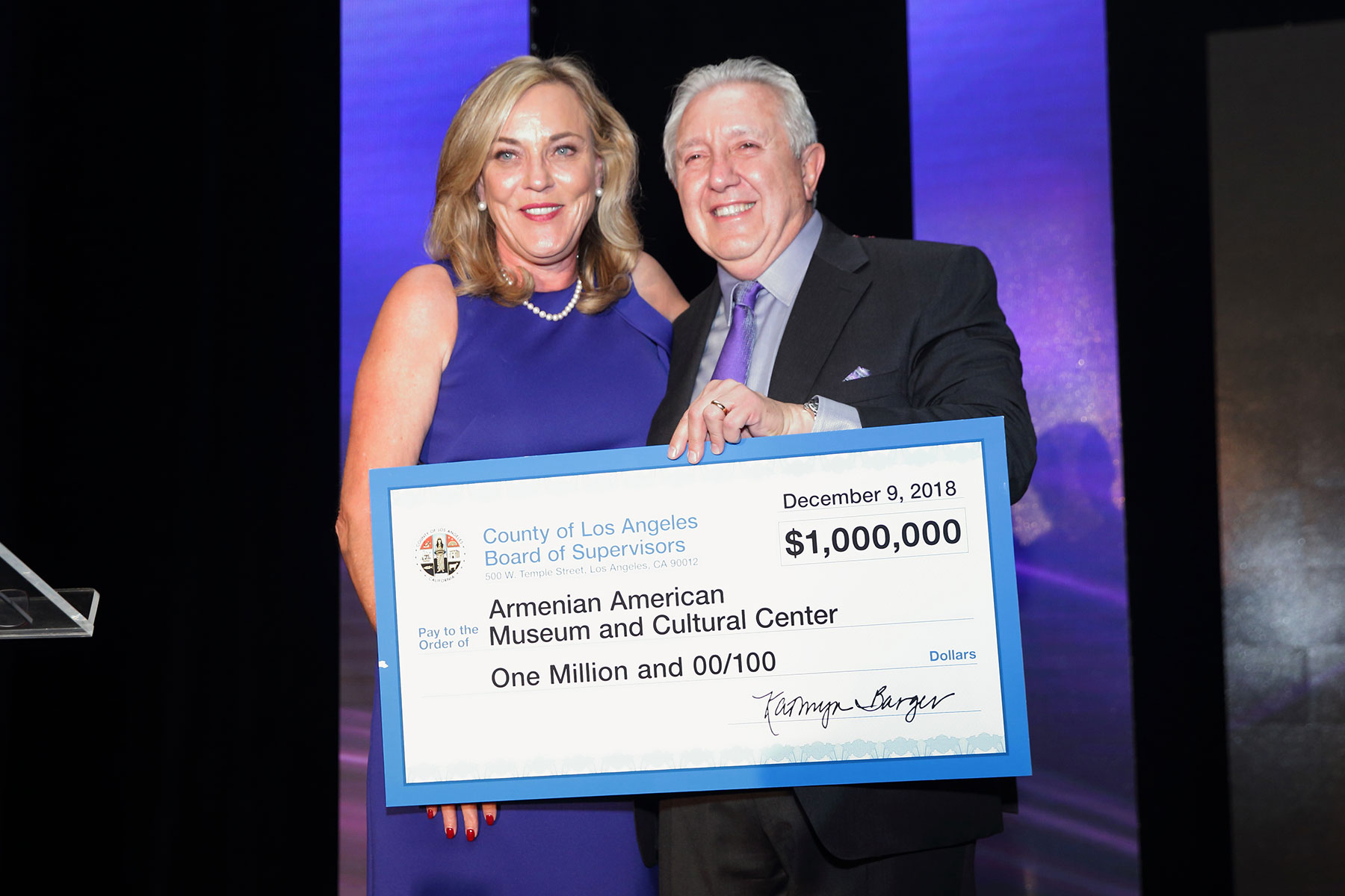 Los Angeles County Supervisor Kathryn Barger Presenting $1 Million Check to Armenian American Museum Executive Chairman Berdj Karapetian