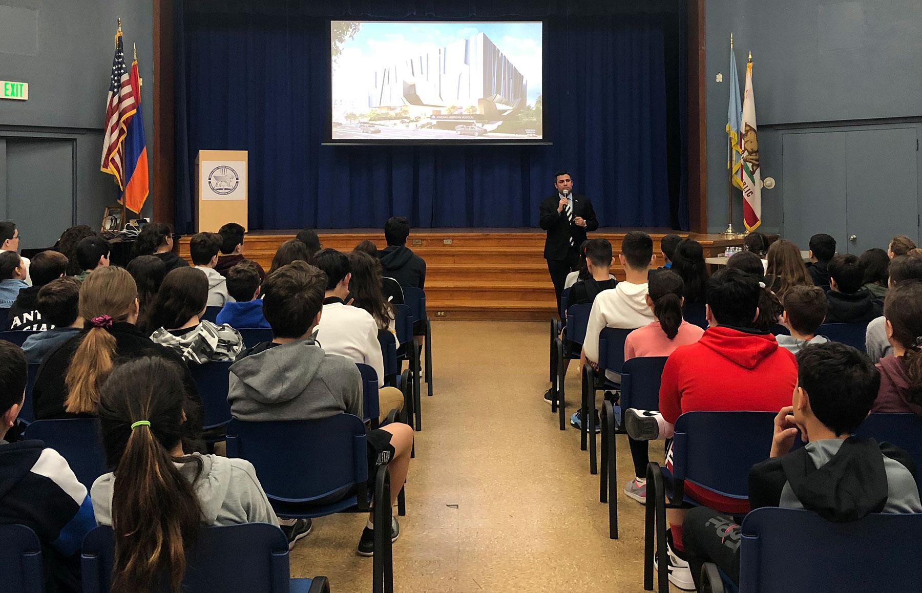Museum Development Director Shant Sahakian Presents Project to Chamlian Armenian School Students