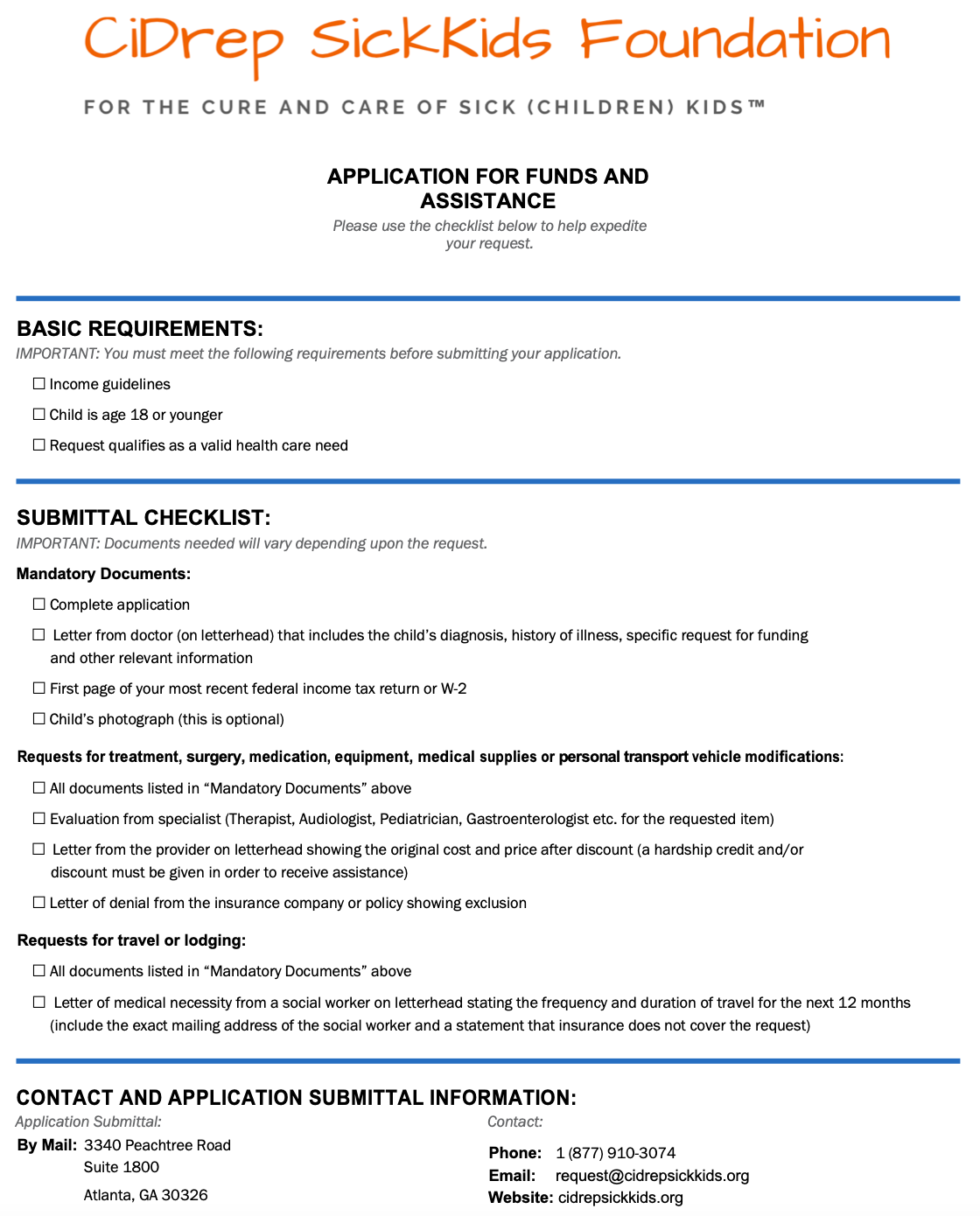 CiDrep SickKids Application