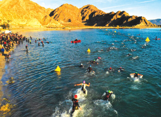 2018 IRONMAN athletes swimming in Lake Cahuilla