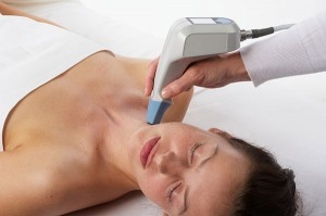 Exilis works to both reduce fat in problem areas and tighten skin in the facial area