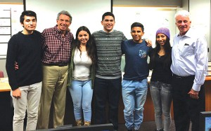 AHA's Charlie Shaeffer, M.D., and Steve Weiss with student lecturers Gianfranco Zena, Guadalupe Cervantes, Rafael Sanchez, Javier Romero, Guadalupe Guillen