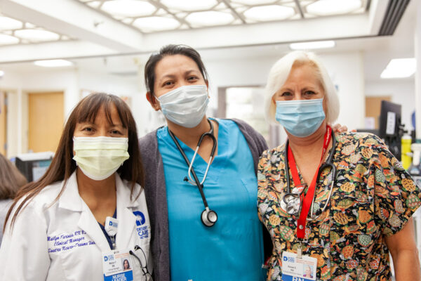 Clinical Manager Mailyn Farinas, RN, and nurses Sanela Rada, RN, and Renee Endres, RN
