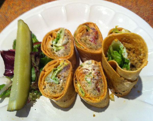 Greek wrap with baked falafa