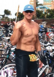 Trent in his first triathlon 10 weeks later and 77 pounds lighter at 217