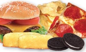 hamburger, cookies, cake, pizza, chips