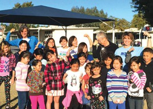Coach Rebecca Hovde-Baker from Indio High School and Hoover Elementary teacher, Patricia Schoenfeld, inspire students  to run!