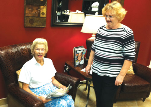 Mom at 95 with her caretaker and friend, Sandra