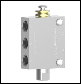 42PA - 5-ported, 4-Way Air Piloted / Push Button valve, detented, with 1/4 pipe ports ports and two 1/8 pipe pilot ports.