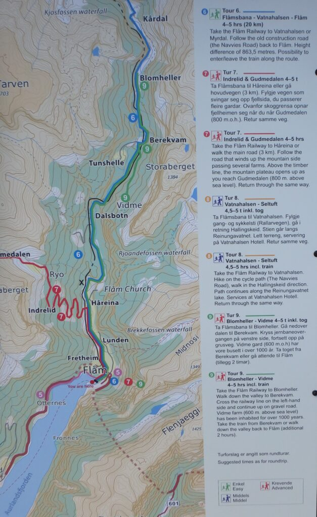 Flam hiking map