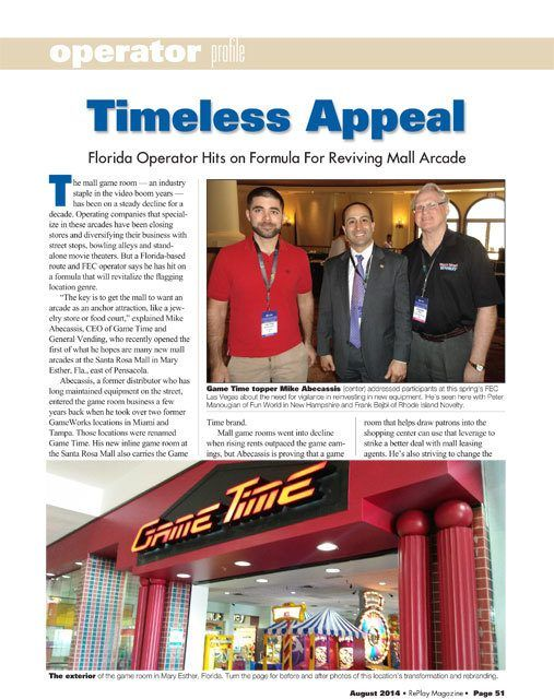 GameTime article in RePlay Magazine with our CEO Mike Abecassis regarding the video game arcade business and our Mary Esther store