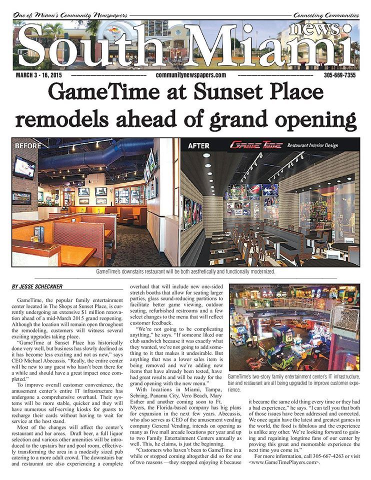 GameTime Grand Re-Opening in South Miami News, Community