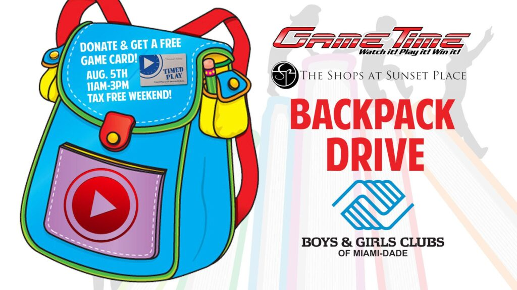 Backpack-drive-gametime-miami-shops-at-sunset-place-benefits-boys-and-girls-club-miami-dade
