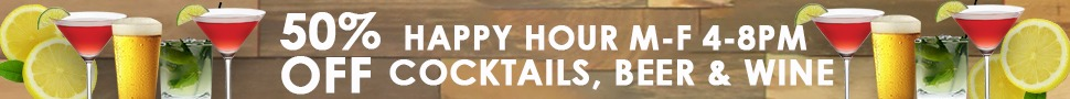 50% OFF Individual Drinks During Happy Hour
