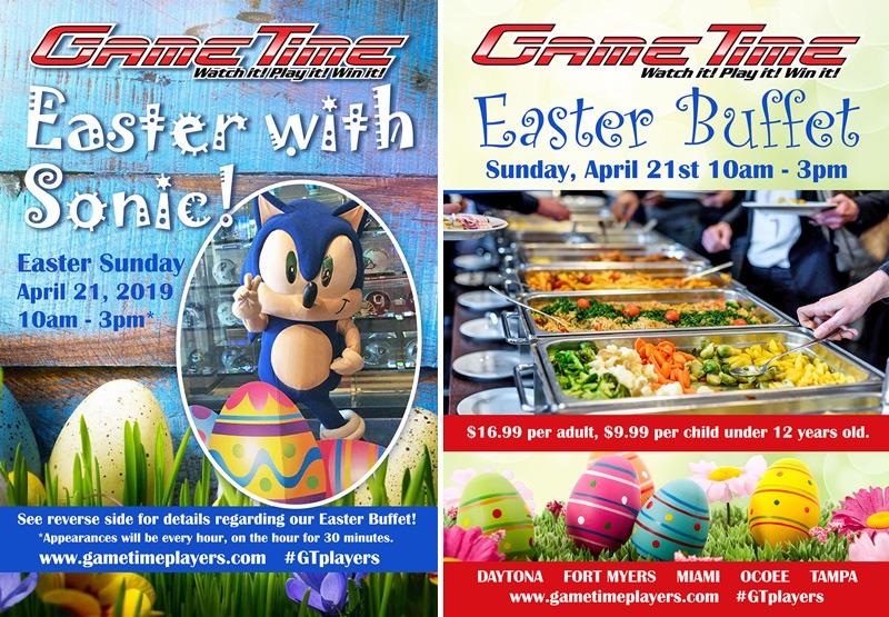 Easter Buffet at GameTime with Sonic