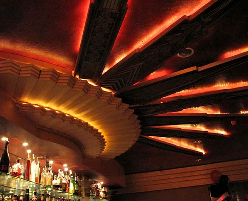 Decorative painting of ceiling at Catalyst Cocktails bar