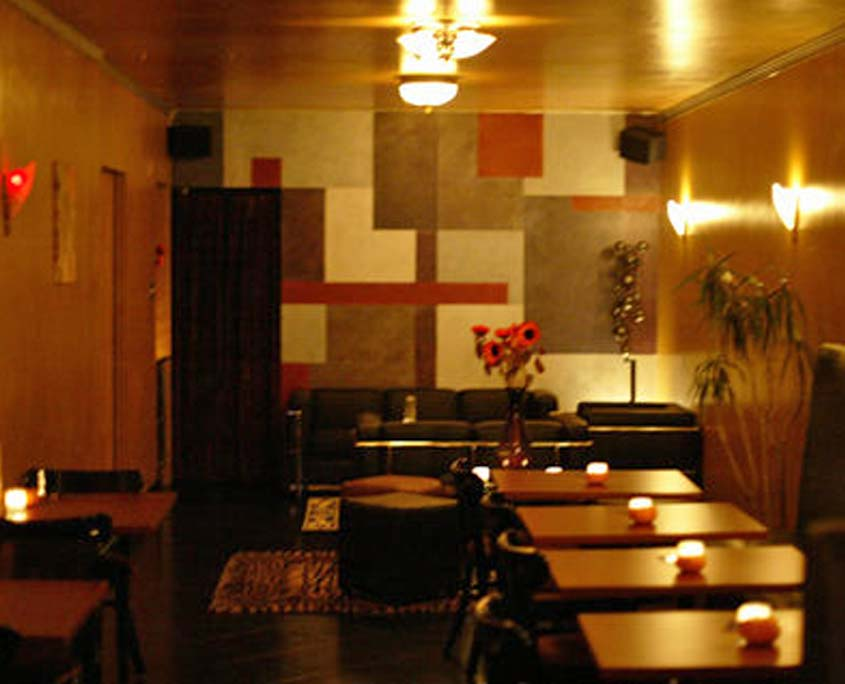Decorative wall painting interior of Catalyst Cocktails bar