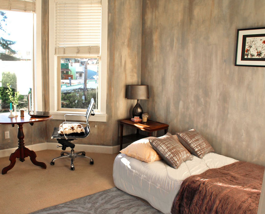 Decorative painting faux finish distressed concrete on wall