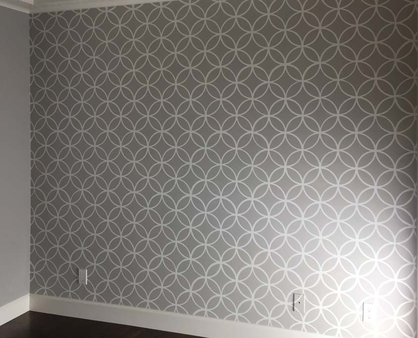 Decorative painting stencil pattern of geometric shapes on wall