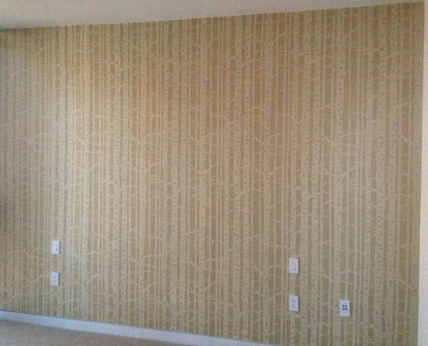 Decorative painting stencil pattern of birch trees on wall